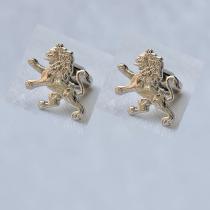 ODA Carved Lion Cufflinks (Nickel)