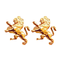 ODA Carved Lion Cufflinks - Gold plated
