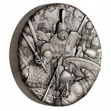 Warfare - Roman Legion 2018 2 oz Silver Antiqued High Relief Rimless Coin