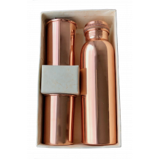 Mirror, Glossy Copper Bottle and Tumblers Set