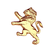 ODA Carved Lion Lapel Pin - Gold Plated